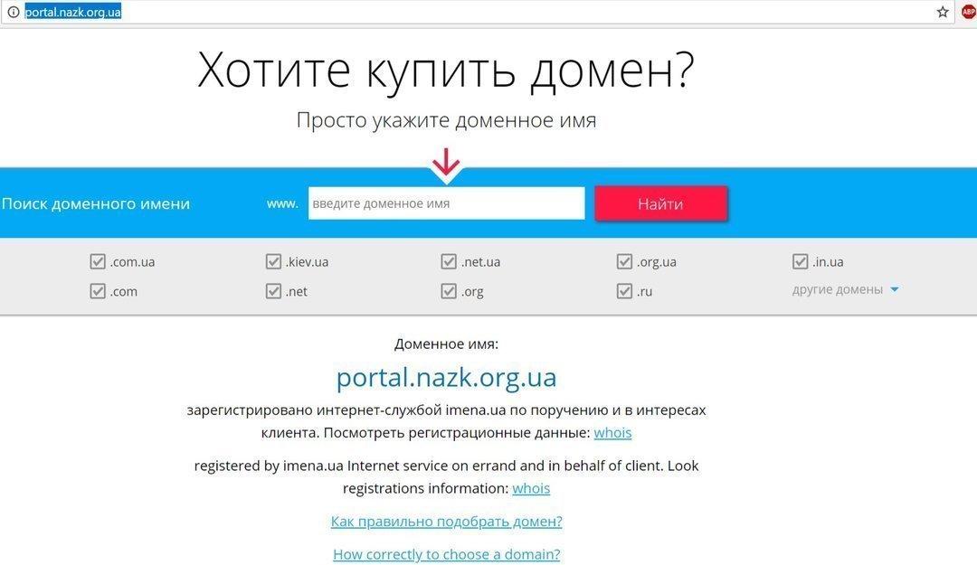 Регистратор заблокировал фейковый сайт НАПК (обновлено)